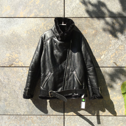 Black Faux Nappa Contemporary Main Jacket Buckled Size S/M