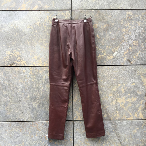 Burgundy Leather Taifun Trousers  Size 29/30