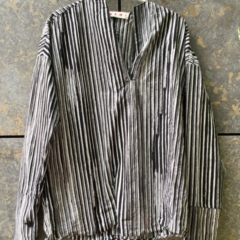 Dark Grey-White Cotton Marni Top long sleeve Collar Detail Size M/L