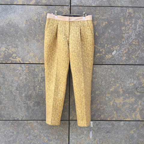 Gold Cotton / Poly Mix Contemporary Designer Trousers  Size 28/29