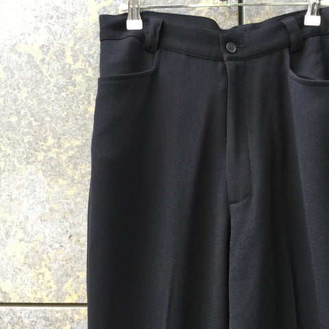Black Polyester Mix Vintage Trousers Wide Leg Size 32
