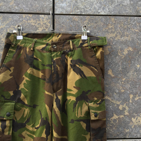 Camo-Green-Brown Cotton Contemporary Main Trousers Multi Pocket Size 28/29