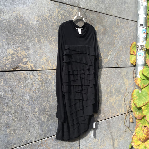 Black Silk Mix Dvf Diane Von Furstenberg Dress Ruffled Size L/XL