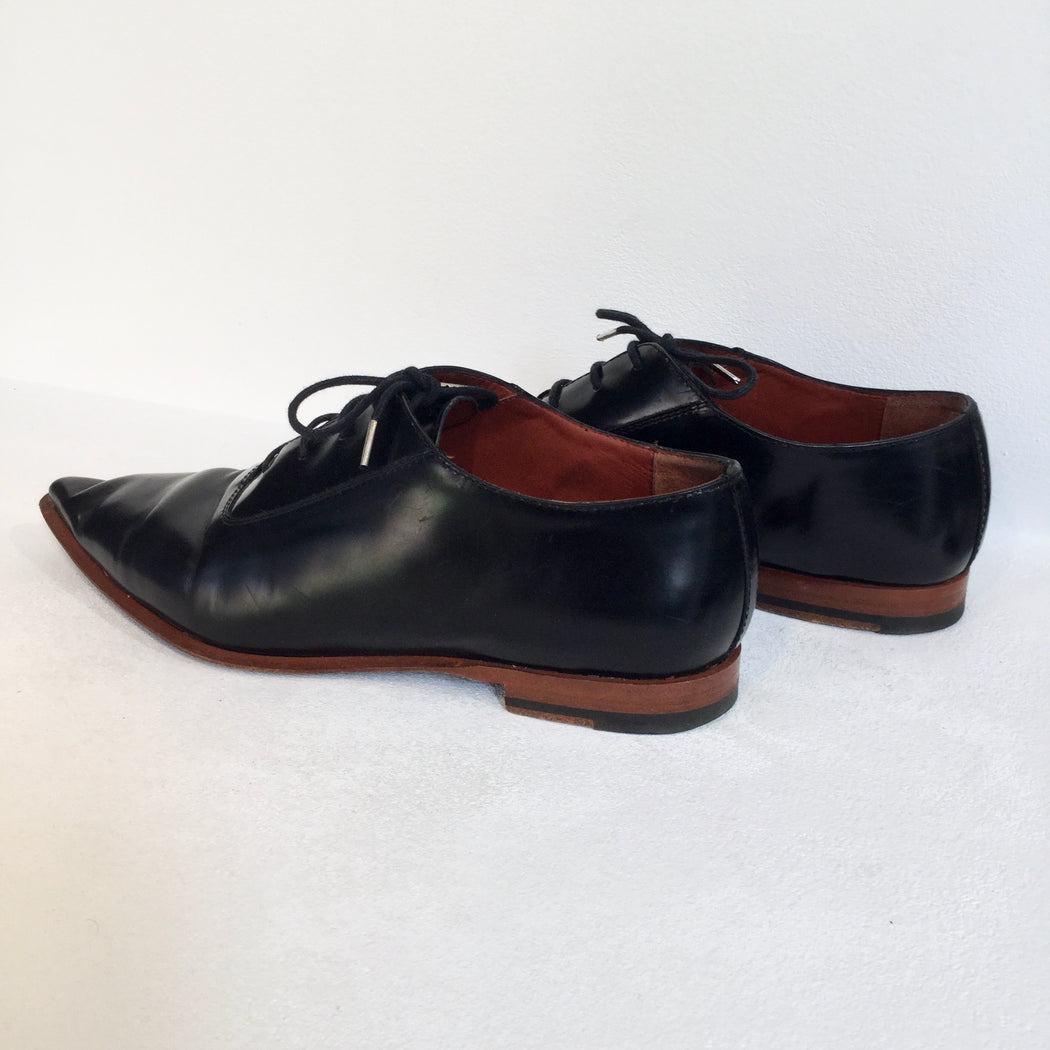 Black Leather Acne Studios ( Womens ) Derby Pointy Toe
