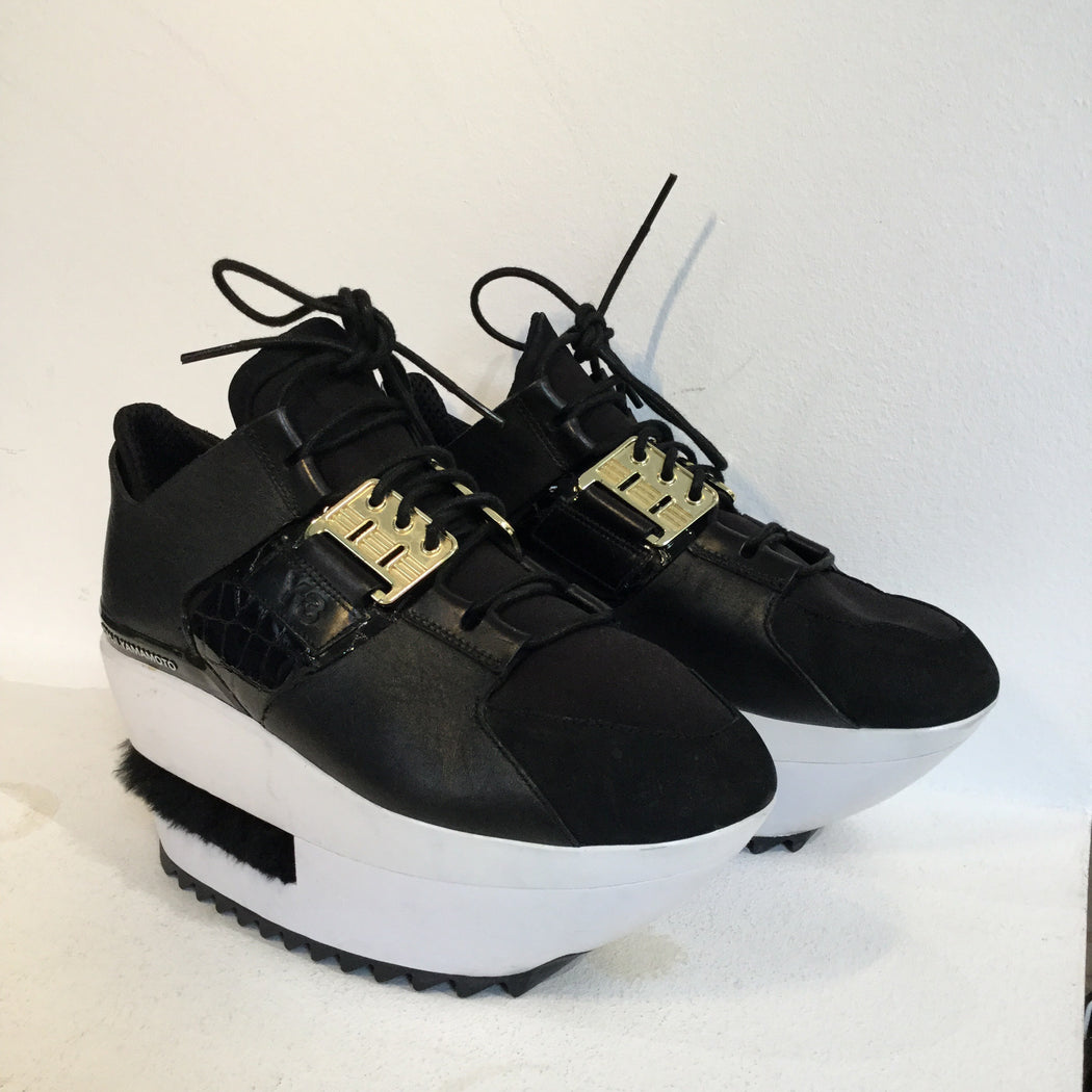 Black-White Leather/synthetic Mix Y-3 Platform Sneakers Conceptual Detail Fuzzy Size 38