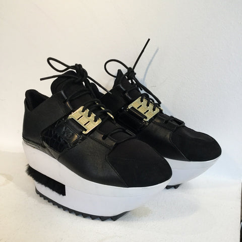 Black-White Leather/synthetic Mix Y-3 Platform Sneakers Conceptual Detail Fuzzy