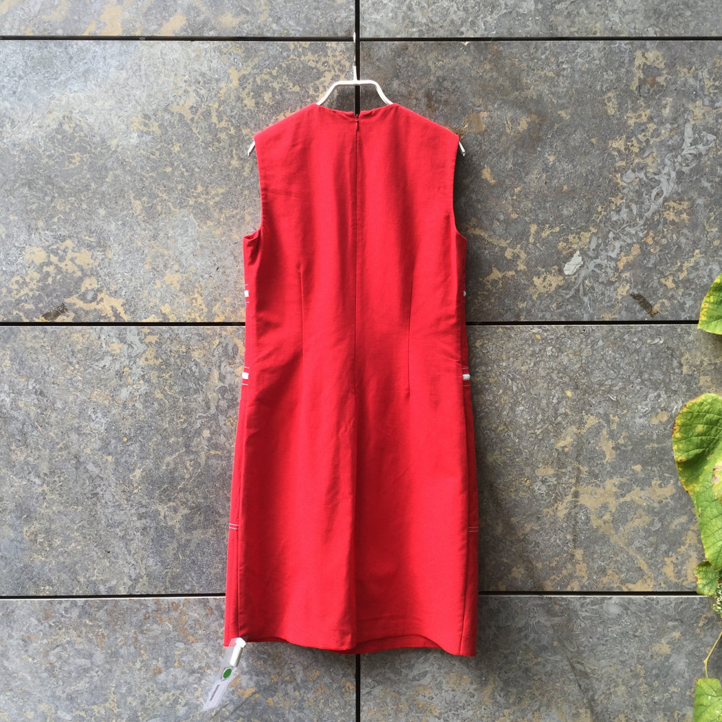 Red-White Cotton Michael Kors Midi Dress Zippered Size L/XL