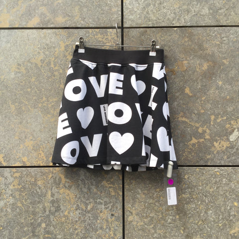 Black-White Cotton Love Moschino Mini Skirt Stretch Waist High Waist Size 24/25