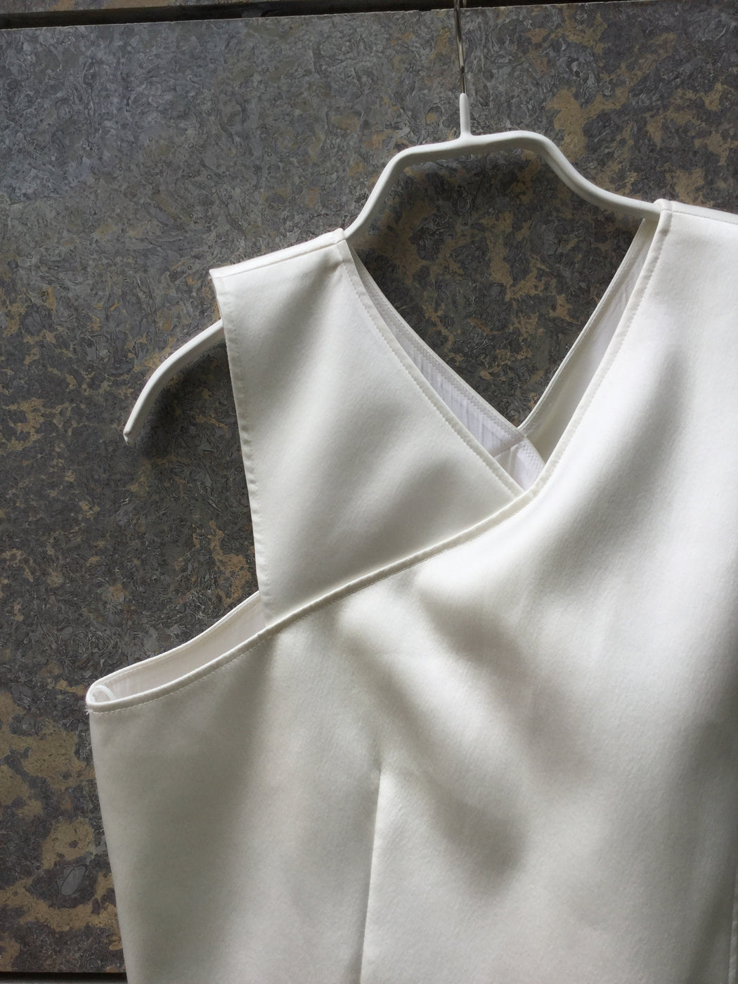 Antique White Polyester Modern Maje Top SS Layered Size S/M
