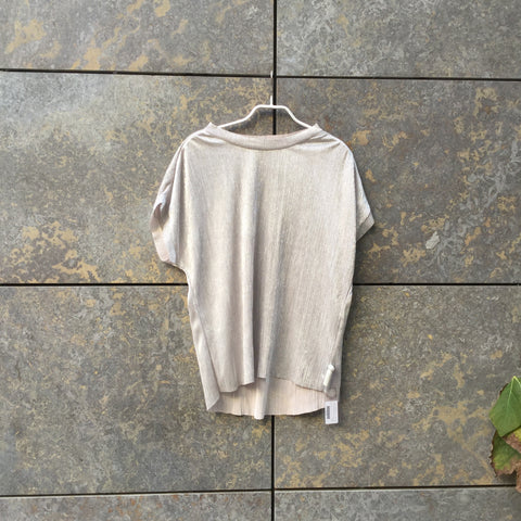 Silver Polyester Modern Contemporary Main Top SS High Low Size M/L