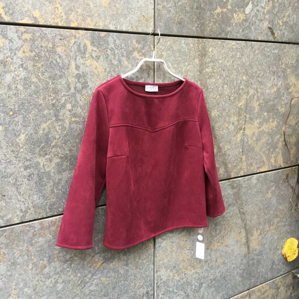 Wine Rayon Mix Vovk Top long sleeve Wide Neck Crop Size S/M