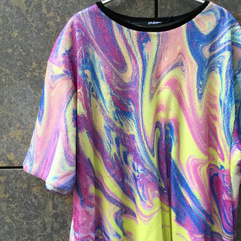 Pastel Color Mix Polyester Modern Contemporary Top SS Sequened Size M/L
