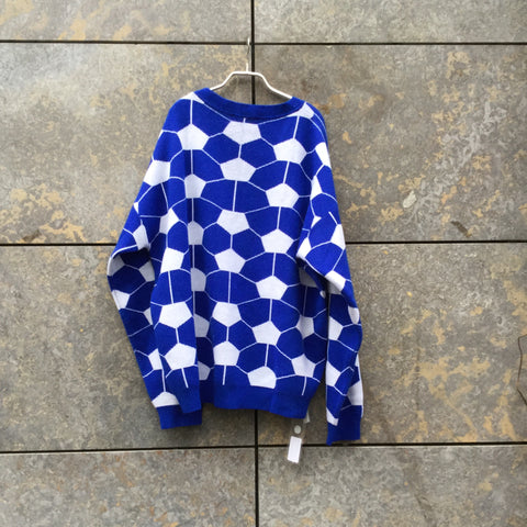 Royal Blue-White Wool / Acrylic Mix Gosha Rubchinskiy Sweater Oversized Size XL/XXL