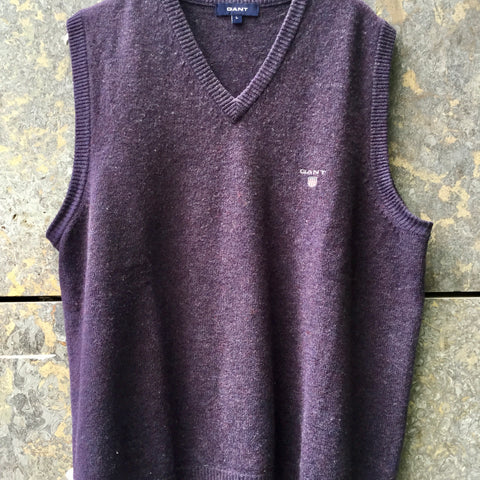 Dark Purple Wool Gant Sweater Vest