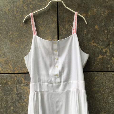 White-Red Rayon Calvin Klein Tank Dress  Size L/XL