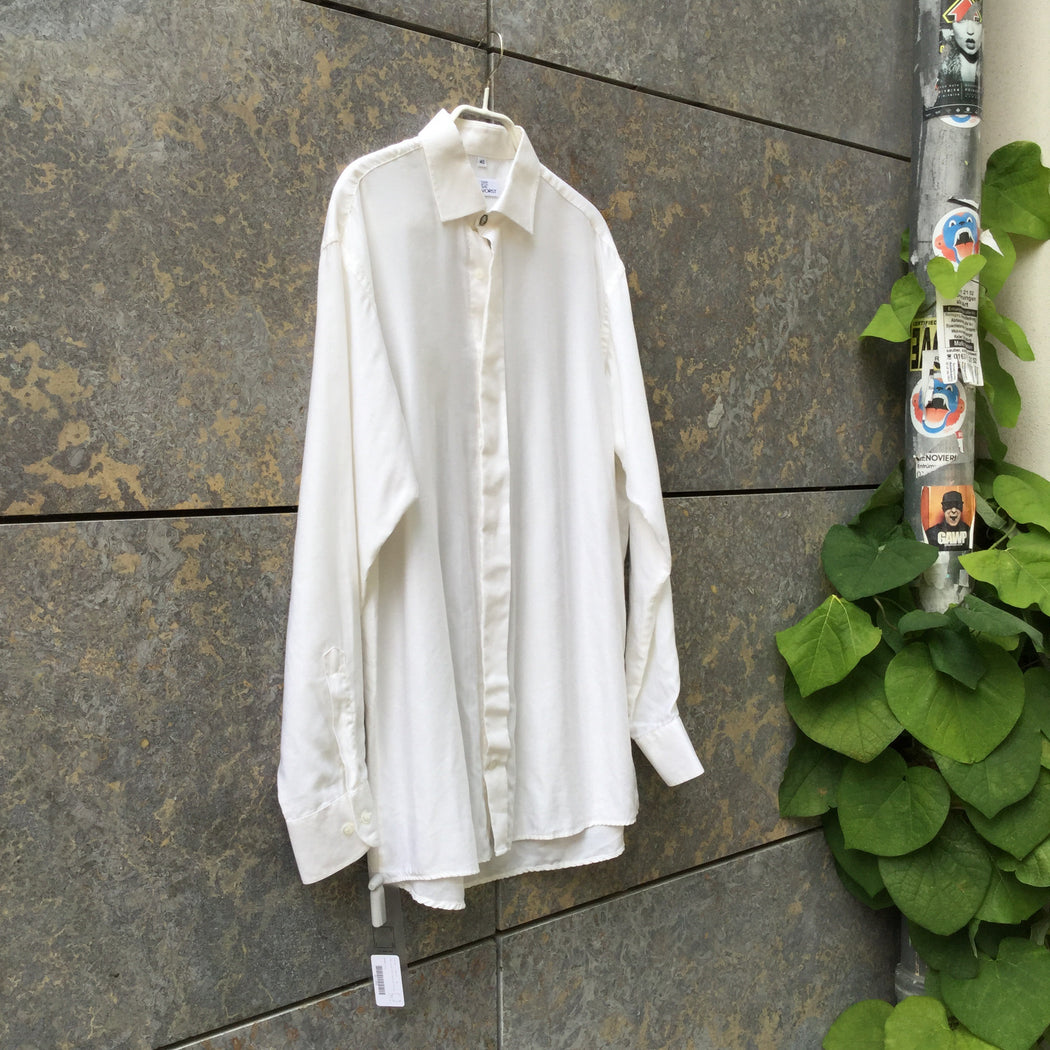 Antique White Cotton / Poly Mix Vintage Shirt Special Button Size Xl