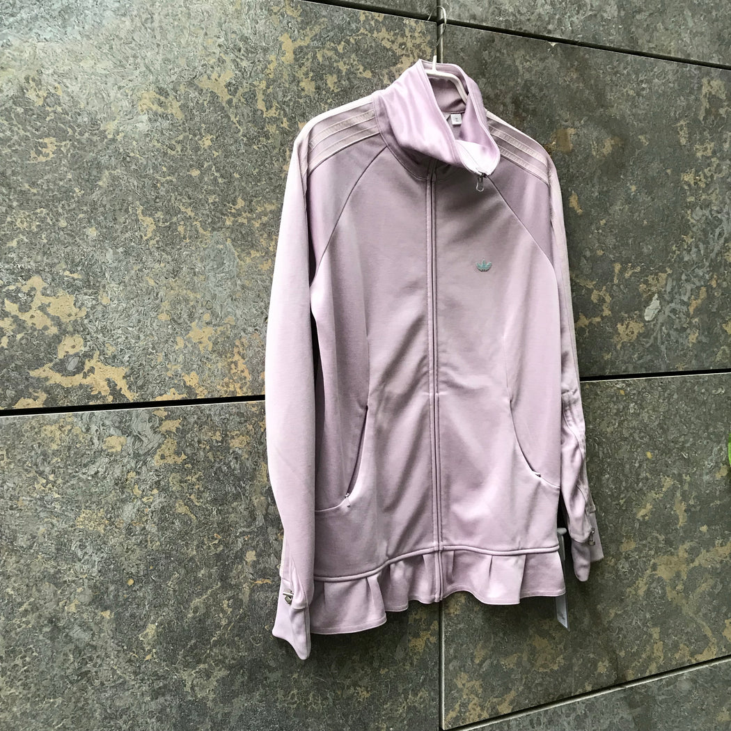 Light Purple Cotton / Poly Mix Adidas Zip Jacket Ruffled Size M/L