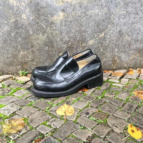 Black Leather Vintage Oxfords  Size 44