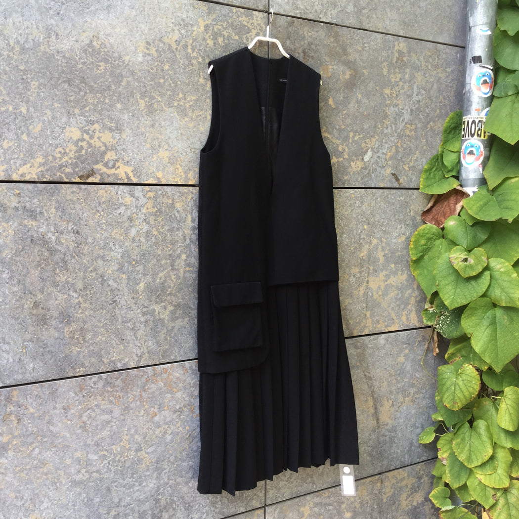 Black Wool Mix Independent Maxi Dress Conceptual Detail Oversized Size L/XL