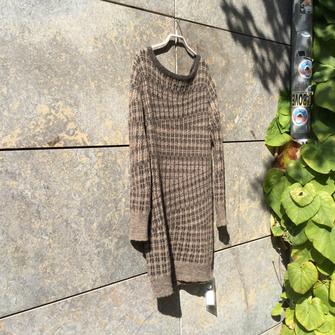 Tan-Black Alpaca / Wool Mix Dries Van Noten Womens Sweater Dress  Size M/L