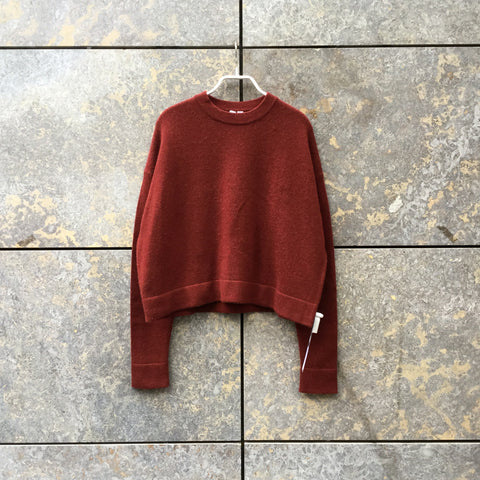 Ox Blood Wool Mix Uniqlo Sweater Boxy Size S/M