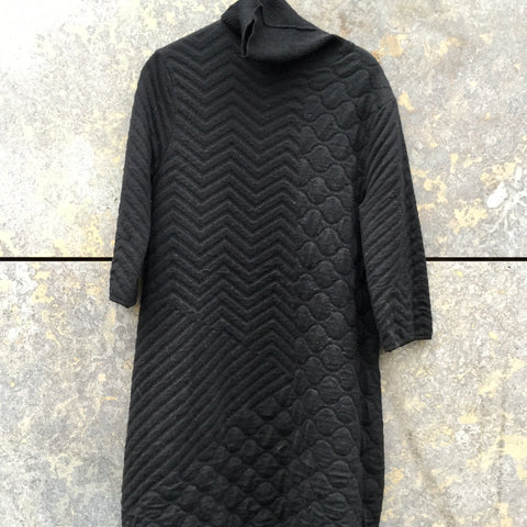 Black Wool Maharishi Midi Dress Turtle Neck 3/4 Sleeve Size L/XL