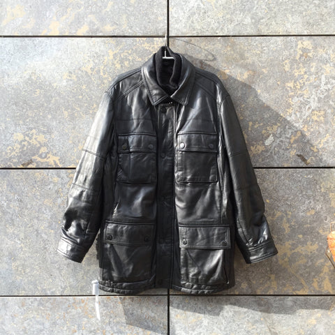 Black Leather Burberry Military/cargo Jacket Multi Pocket Size XL/XXL