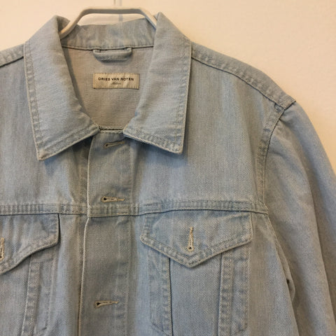 Pale Denim Blue-White Denim Dries Van Noten Jeans Jacket Conceptual Detail Size S/M