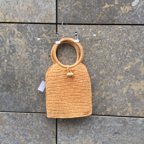 Orange Creamsicle Twine Contemporary Main Straw Bag Special Button Size Os