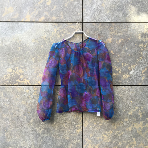 Blue Tone Mix Synthetic Vintage Layering Top  Size S/M