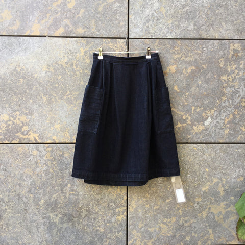Dark Blue Cotton UniQlo X Ines des la Fressange Midi Skirt Oversized Pocket Size 26/27