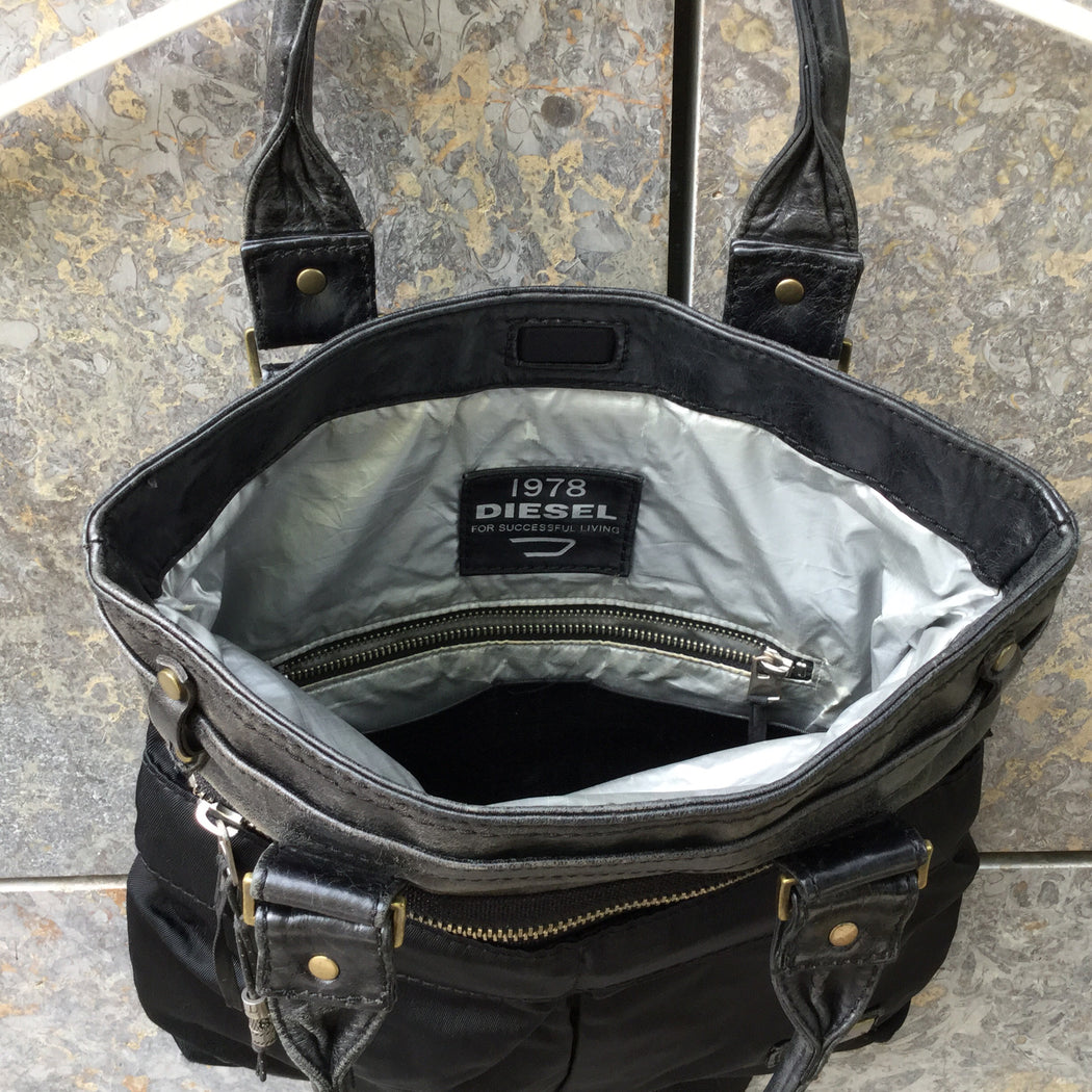 Black Leather / Canvas Mix Diesel Leather Tote  Size Os