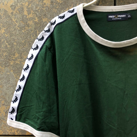 White-Hunter Green Cotton Fred Perry T-shirt  Size XL/XXL