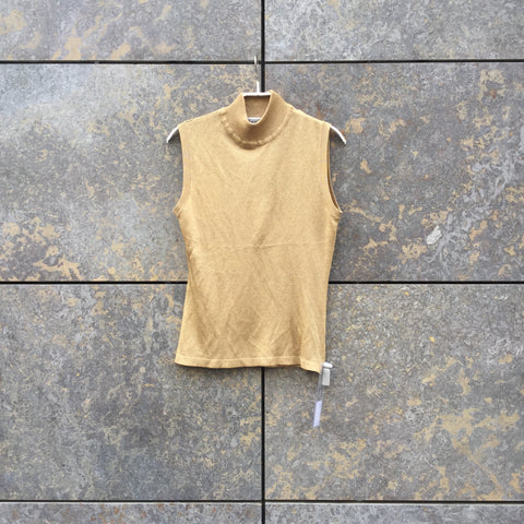 Gold Polyester Mix Vintage Top SS Sleeveless Size Xs/S
