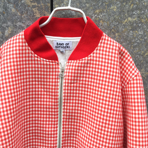 Red-White Cotton Band of Outsiders Varsity Jacket Embroidered Size S