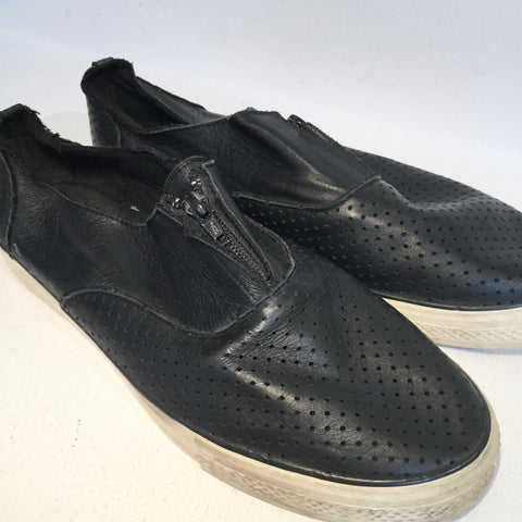 Black Leather Yohji Yamamoto Sneakers Zippered Mesh