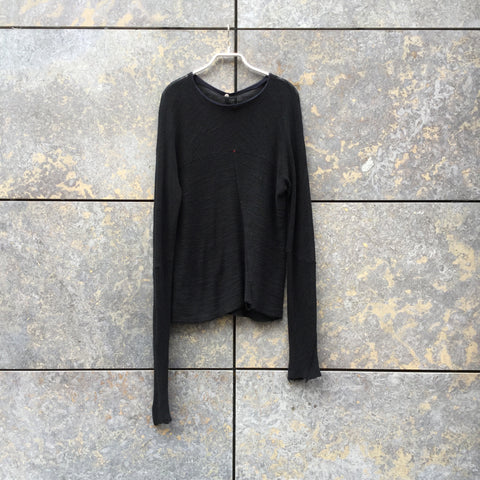 Black Cotton Independent Knit Top Raw Hem Size S