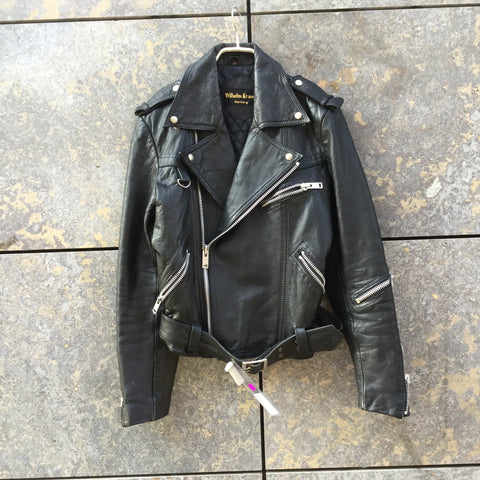 Black Leather Vintage Biker Jacket Zippered Elbow Patch Size S/M