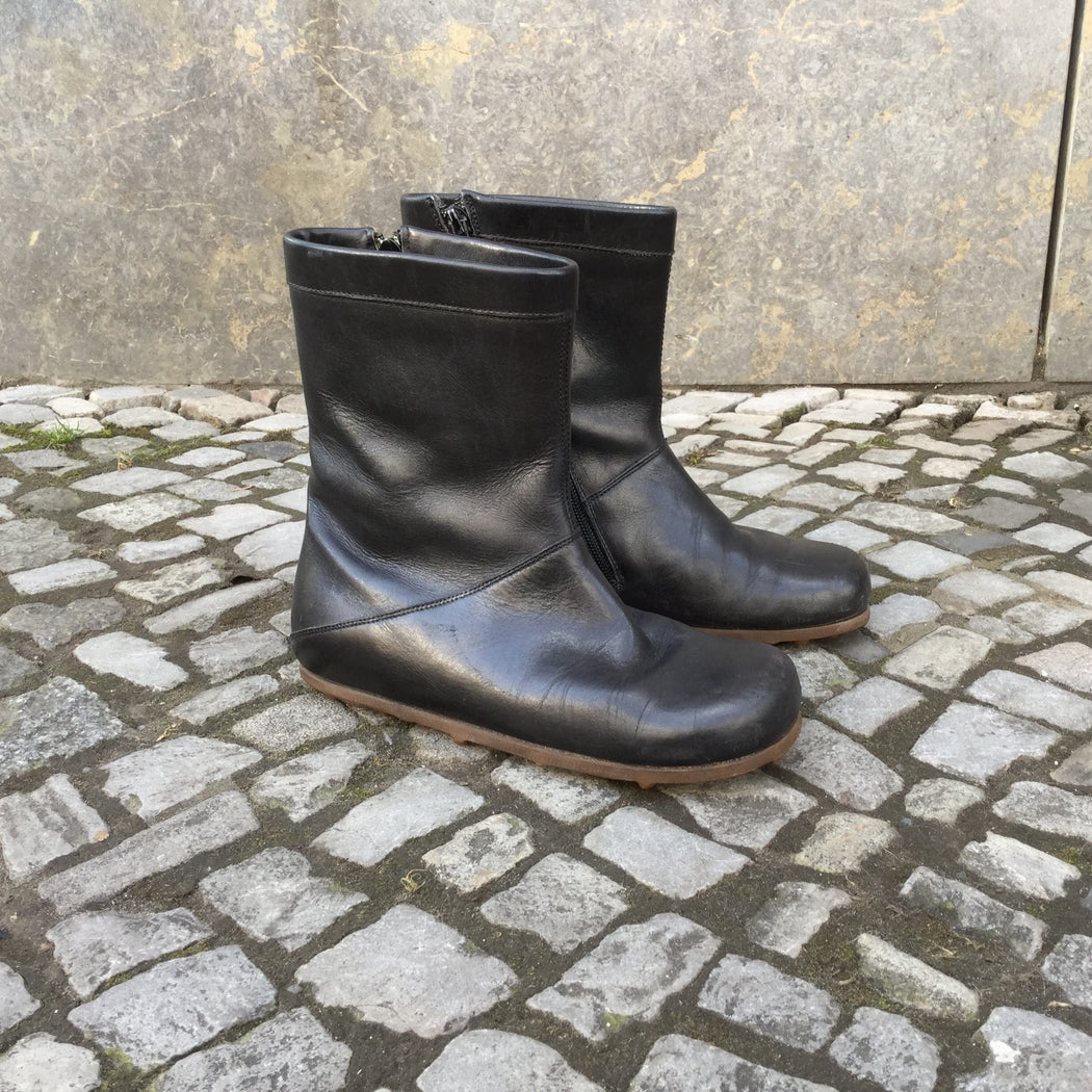 Black Leather Contemporary Designer Boots  Size 5.5