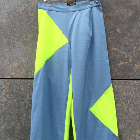 Sky-Yellow Cotton / Poly Mix Vivienne Westwood Anglomania High Waist Pants Wide Leg Size 26/27