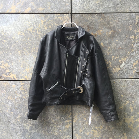 Black Leather Contemporary Main Leather Jacket Zippered Size L/XL