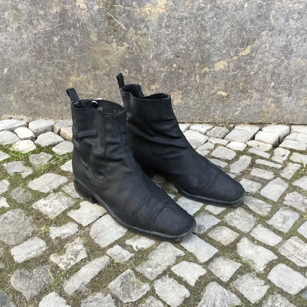 Black Nylon Contemporary Main Ankle Boots  Size 7.5