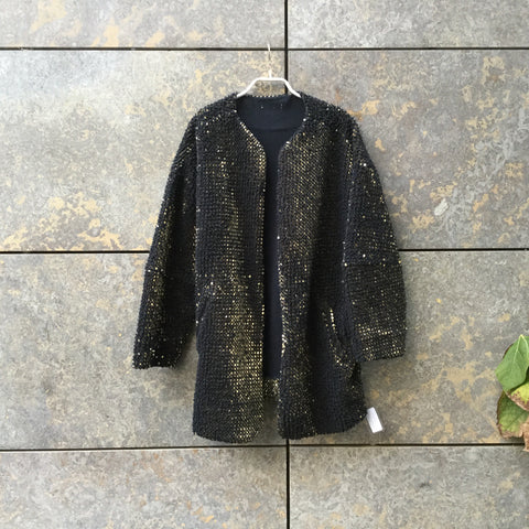 Black-Gold Cotton / Acrylic Mix Contemporary Robe Sequened Size Os