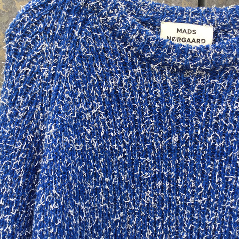Blue-White Cotton / Poly Mix Mads Nørgaard Sweater  Size Xs/S