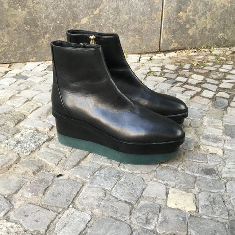 Black Leather Other Stories Ankle Boots Platform Size 8