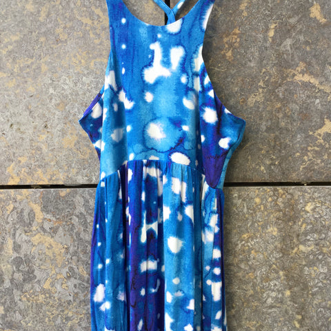 White-Blue Rayon Mix Contemporary Designer Maxi Dress Halter Top Size XS/S