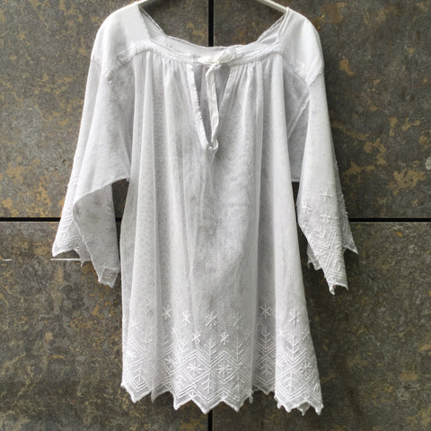 White Cotton Mix Vintage Top long sleeve Sheer Trumpet Sleeve