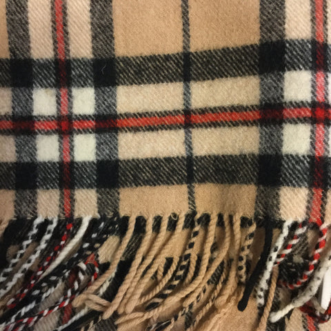 Caramel-Black Wool Vintage Winter Scarf Fringy