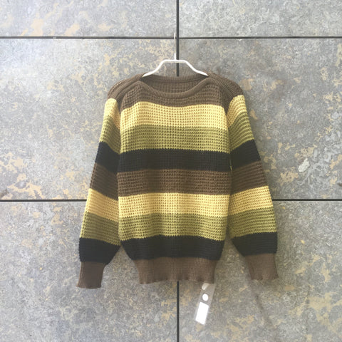 Brown-Colorful Wool Mix Vintage Sweater Loose-fit Size S/M
