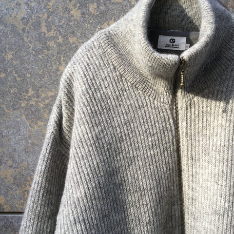 Heather Grey Wool Contemporary Knit Jacket  Size M
